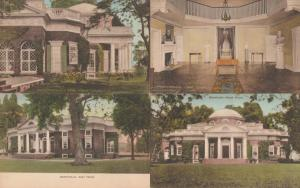 (4 cards) Hand-Colored Views of Jefferson Home - Monticello VA, Virginia