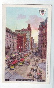 P1326 old postcard unused many trollies horse wagons etc broadway new york city