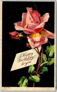Vintage HAPPY BIRTHDAY Embossed Greetings Postcard Pink Roses c1910s