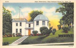 Observatory Elgin National Watch Co Elgin Illinois linen postcard