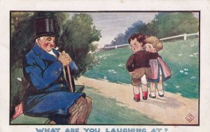 COMIC, 1900-10s; Man smoking pipe smiling at boy with hole in pants
