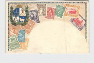 PPC POSTCARD URUGUAY STAMPS POSTAGE COAT OF ARMS UNDIVIDED BACK #1