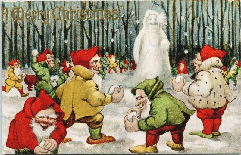 Merry Christmas Snowman Old Elves Snowballs Xmas c1912 Postcard F95