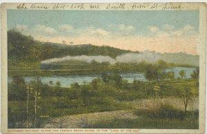Old White Border Era Postcard Southern Railway Along French Broad River Land Sky