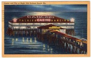 Old Orchard Beach, Me, Casino and Pier at Night