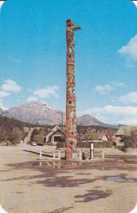 JASPER, Alberta, Canada, 1940-1960's; Totem Pole On Main Street, Pyramid Moun...