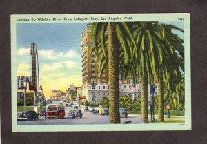 CA Wilshire Blvd Lafayette Park Los Angeles California Linen Postcard