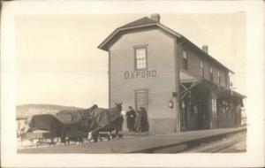 Oxford ME RR Train Station Depot  c1910 Real Photo Postcard