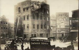 Ontario Beach NY Fighting the Flames - Amusement Park - Real Photo Postcard