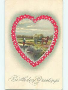 Divided-Back birthday HORSE & HAY WAGON IN HEART MADE OF FLOWERS o9022