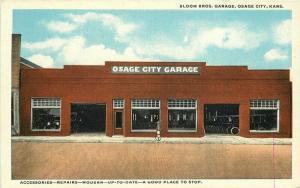 1920s Osage City Kansas Bloom Bros Auto Repair Garage Roadside Postcard