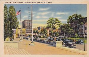 Massachusetts Springfield View Of Court Square From City Hall 1942
