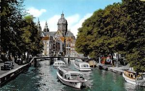 Netherlands Oud Amsterdam O.Z. Voorburgwal River Boats Bridge Vintage Car