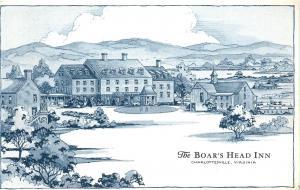Charlottesville Virginia~Boar's Head Inn~1969 B&W Artist Drawing Potcard
