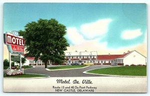 Postcard DE New Castle Motel De Ville Du Pont Parkway R14