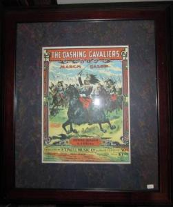 Framed & Matted Sheet Music by Composers E.T. Paull & E. Braham: The Dashing...