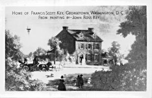 GEORGETOWN DC~FRANCIS SCOTT KEY HOUSE + ORIGINIAL MANUSCRIPT~LOT OF 2 POSTCARDS