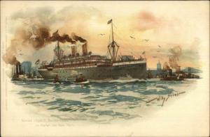 Nordd Lloyd Bremen Steamship SS Barbarossa New York City Harbor STOWER c1900