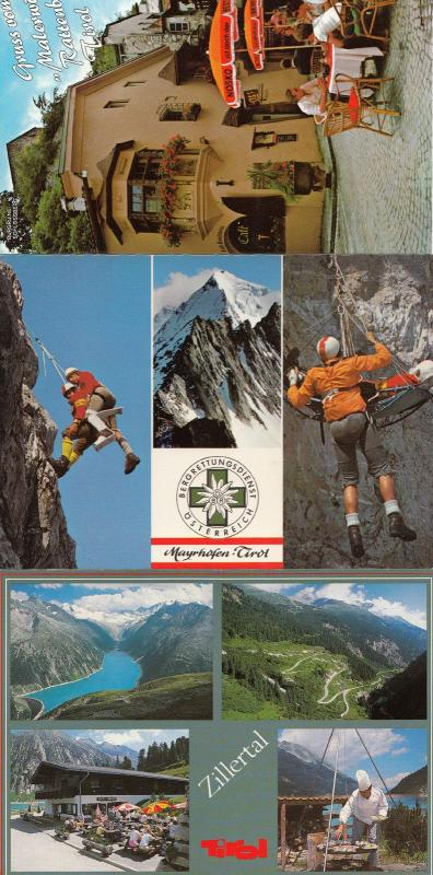 Tirol Swiss Nosko Beer Garden Umbrella & Rock Mountain Climbing 3x Postcard s