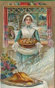 THANKSGIVING; Pilgrim girl with pie , 1910