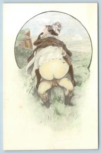 Postcard French Risque Man Woman Nude Action Cartoon Big Butt in Field Q16