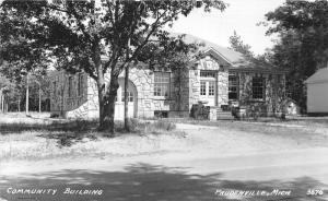Prudenville Michigan~Community Building~Shaded by Trees~1931 RPPC Postcard