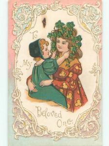 Brown Spot - Pre-1907 BELOVED ONE - LITTLE GIRL WITH OLDER SISTER o3050