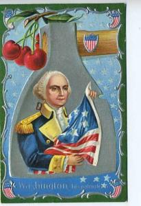 George Washington Birthday US Flag 2 Postcard