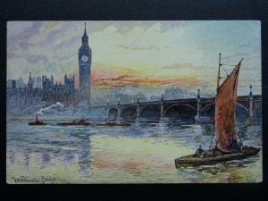 London WESTMINSTER BRIDGE Thames Barge c1906 Postcard by Artist Arthur C. Payne