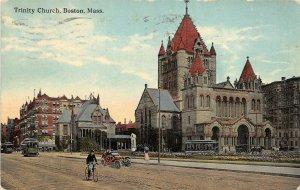 Boston Massachusetts 1916 Postcard Trinity Church Streetcar Bicycle