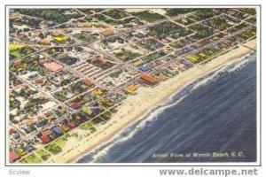 Aerial view beach with Pavillion, Myrtle Beach, South Carolina, PU 1954