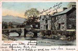 The Bridge in Beddgelert, Wales, Great Britain, Early postcard, Used in 1902