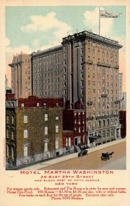 Hotel Martha Washington, 29 E. 29th St., New York City, Early Postcard, Unused