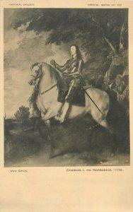 Art Postcard Charles I on horseback Van Dyck