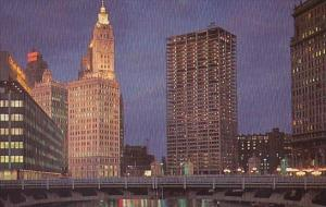 Illinois Chicago River At Night