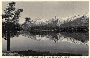 Canada Morning Reflections in Lac Beauvert Jasper Lake Mountain Postcard