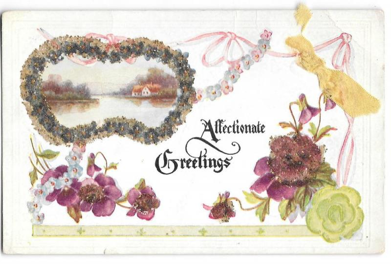 Affectionate Greetings Coralene Glass Beads Add-On Postcard