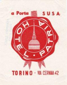 Italy Torino Hotel Patria Vintage Luggage Label sk1730