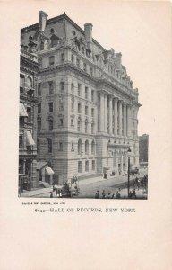 Hall of Records, Manhattan, New York City, N.Y., Early Postcard, Unused