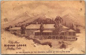 Bailey, Colorado Postcard THE NEW KIOWA LODGE Artist's View c1950s Unused