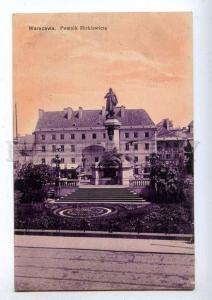 192406 POLAND WARSZAWA Mickiewicz monument Vintage postcard
