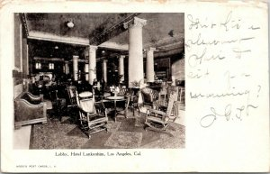 Los Angeles CA~Hotel Lankershim Lobby~Rocking Cahirs~Leather Couch~1906 B&W PC