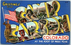 1940s WWII CAMP CARSON Colorado Springs Large Letter Postcard Military Linen