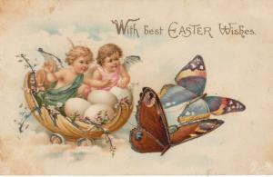 EASTER, PU-1907; Cherubs in a cart with eggs being pulled by butterflies