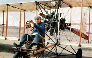 Billy Parker, Pioneer Aviator, Operating 1912 Model Airplane