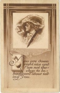 Sepia Artistic sketch of Victorian Lady In Merry Widow Hat Flirty Vintage