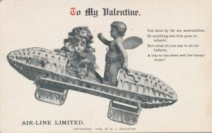 To My Valentine Greetings - Airline Limited - DB - 1908 H. L. McCarthy