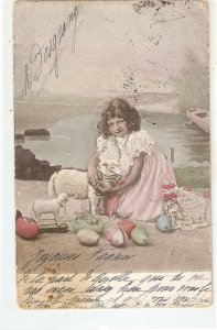Little girl with her toy lambs. Eggs Old vintage postcard