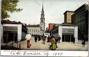Boston MA, Park Street Entrance to Subway, Pre-1908 UDB Vintage Postcard Y04