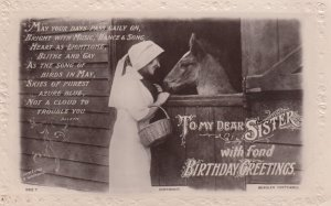 Woman & Donkey Birthday Greetings , 00-10s